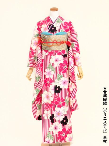 ピンクと白の縞に洋花の振袖