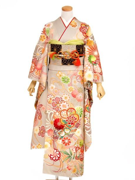 白茶色にねじり梅と檜扇と流水の振袖/小さめサイズ