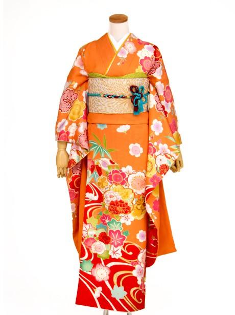 オレンジ色に桜と流水と赤の裾ぼかしの振袖/小さめサイズ