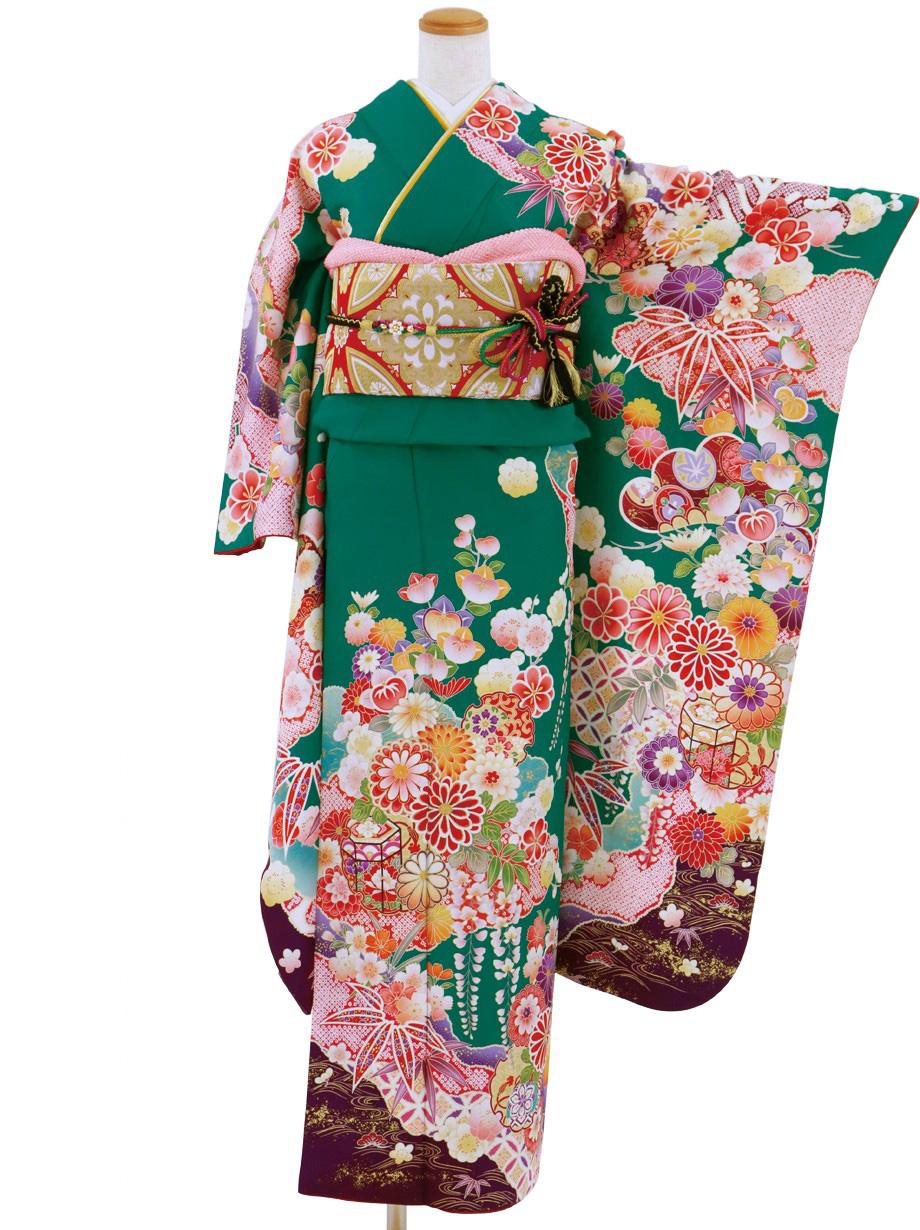 青碧(せいへき)色に花と貝桶の振袖/標準サイズ