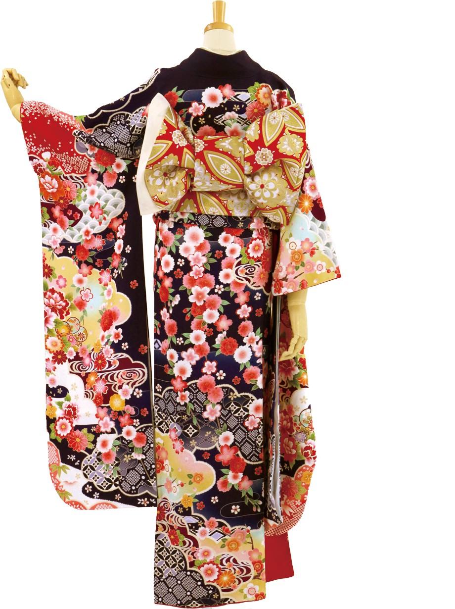 濃紺地に四季花と七宝の振袖/小さめサイズ