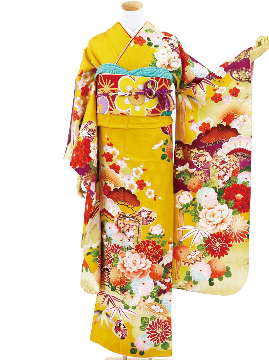 黄色地に松竹梅と貝桶の振袖/標準サイズ
