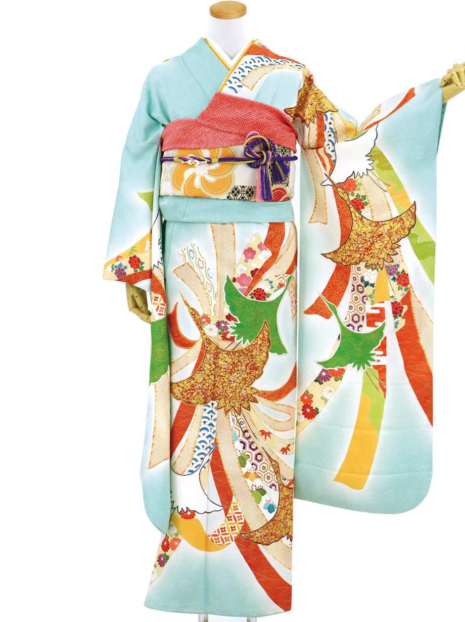 水色地に熨斗(のし)と鶴の振袖