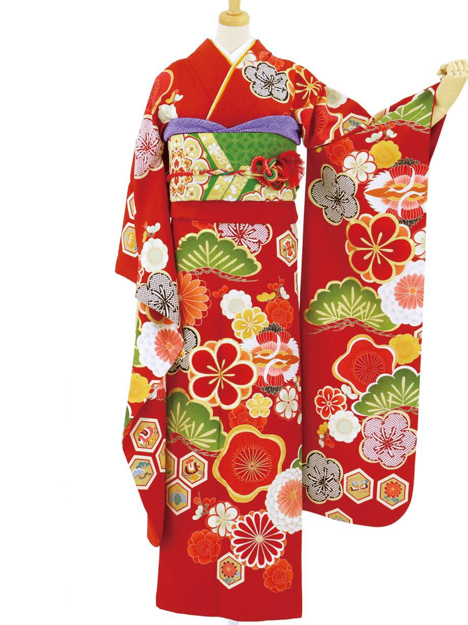 赤地に梅と松の振袖/小さめサイズ