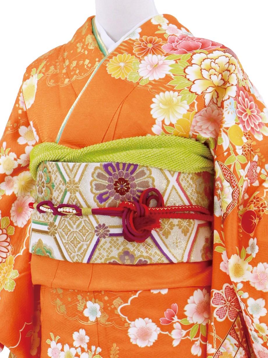橙色に牡丹、貝桶の振袖/標準サイズ