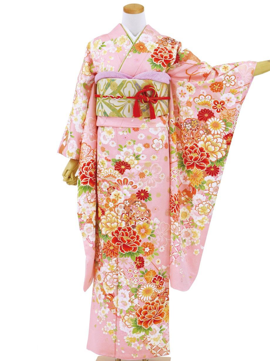 ピンク地に桜と熨斗の振袖/標準サイズ