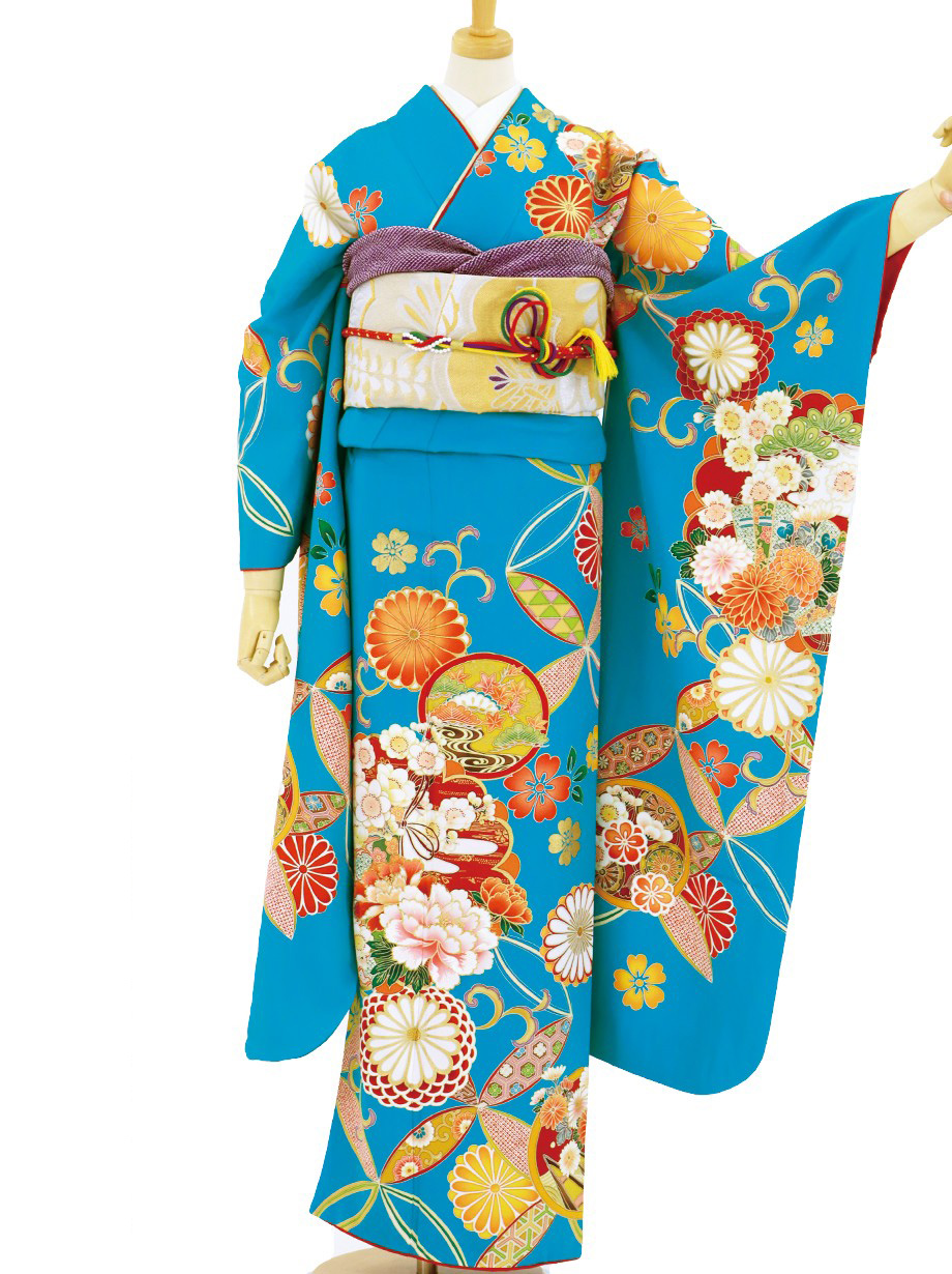 花色(はないろ)に七宝と花紋の振袖/トールサイズ