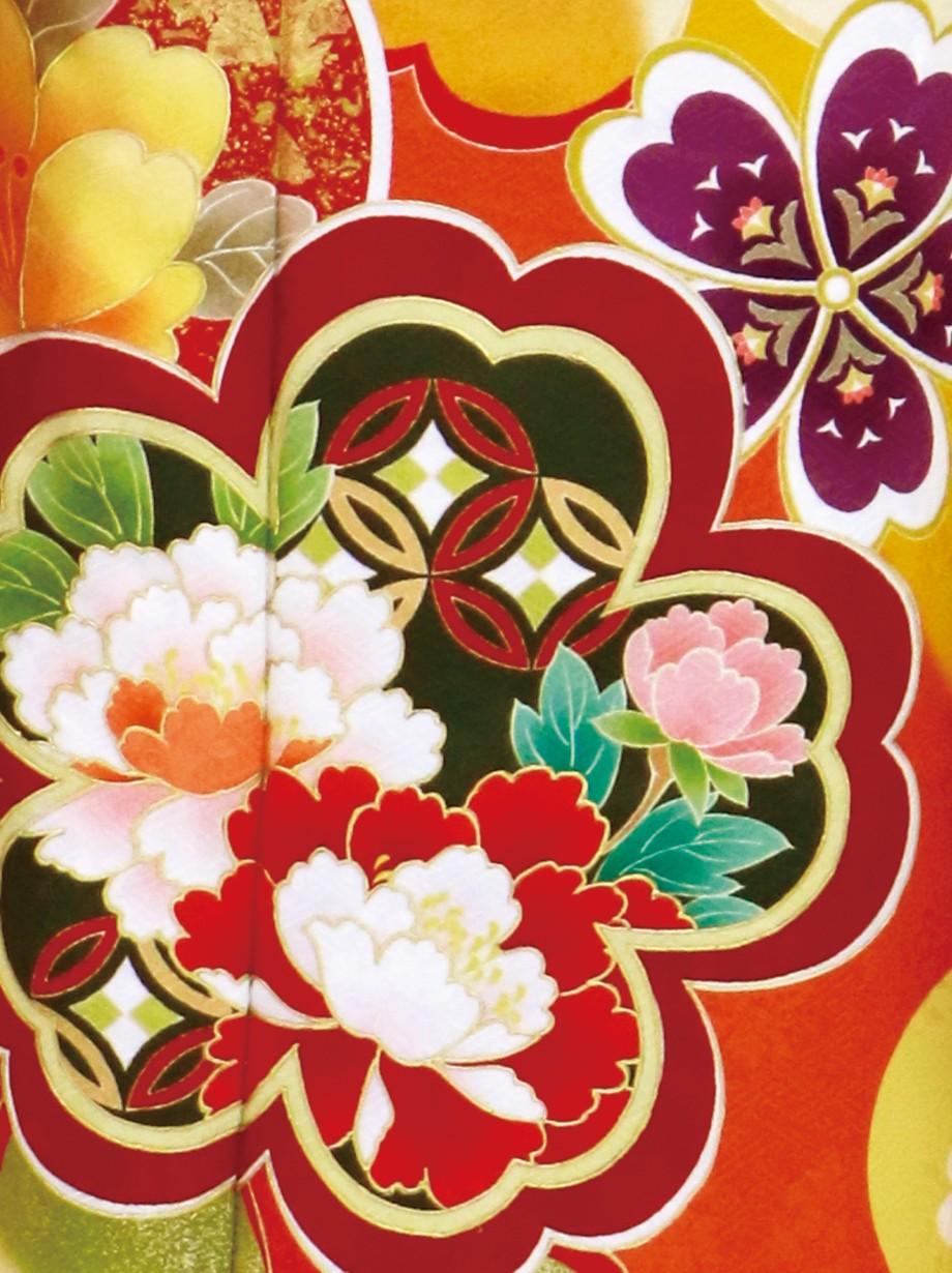 黄色地に桜の振袖/トールサイズ
