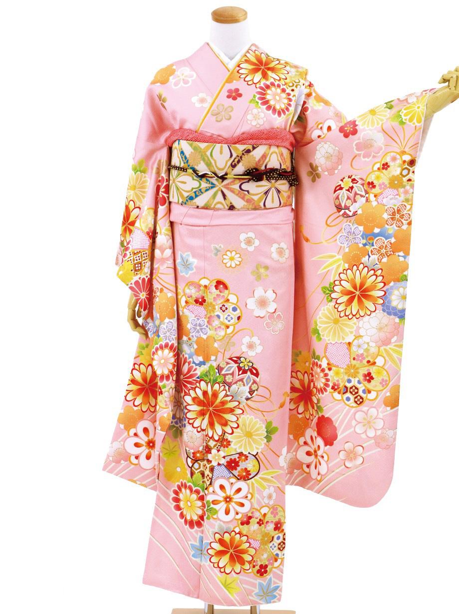 ピンク地に菊と毬の振袖/標準サイズ
