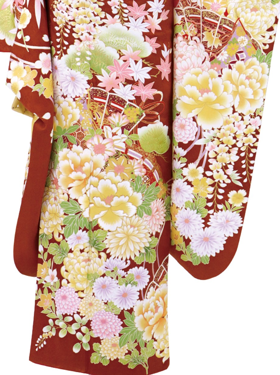 柿渋色に牡丹・菊に檜扇/標準サイズ