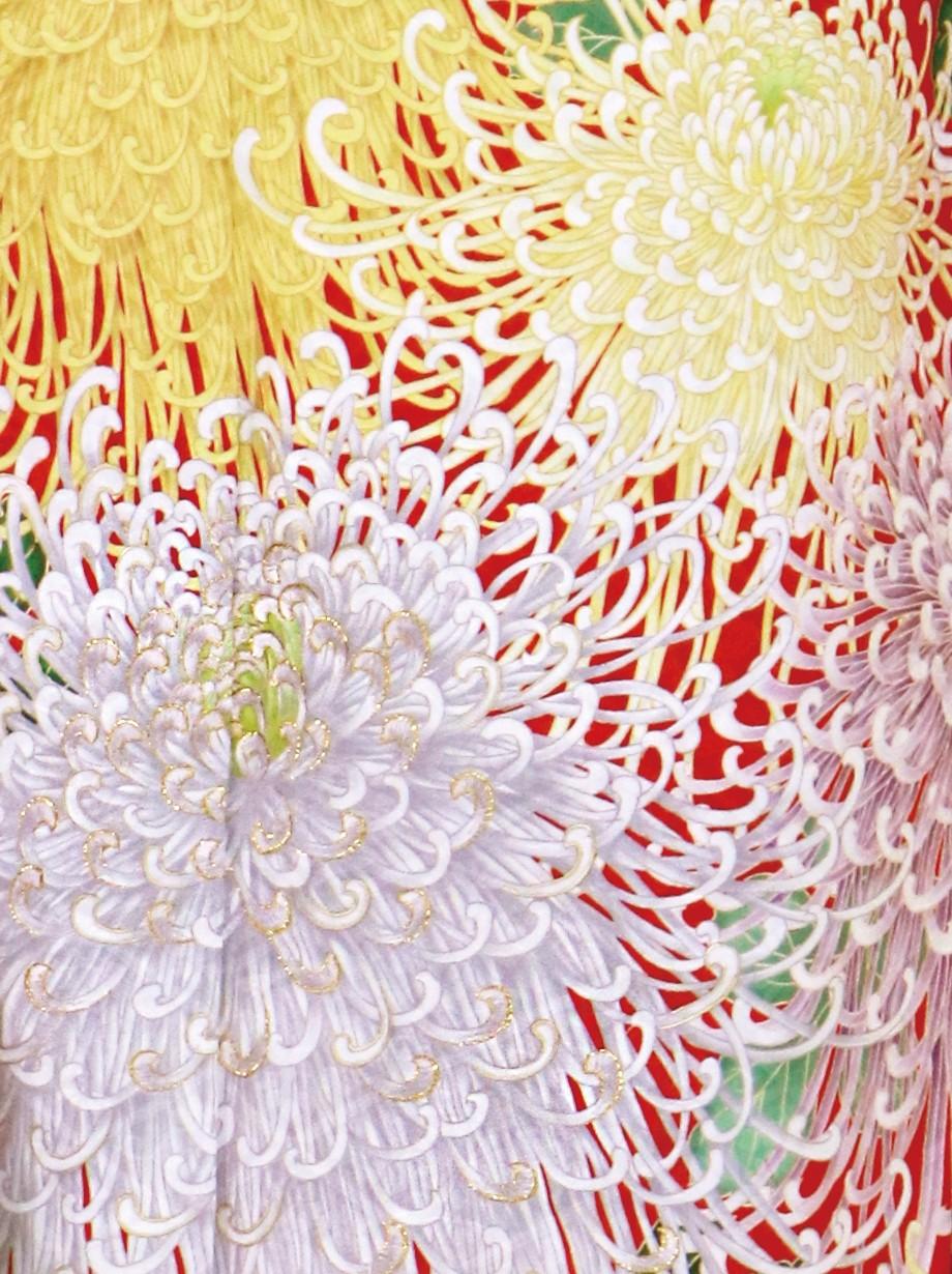 橙色に大輪の乱菊の振袖/標準サイズ