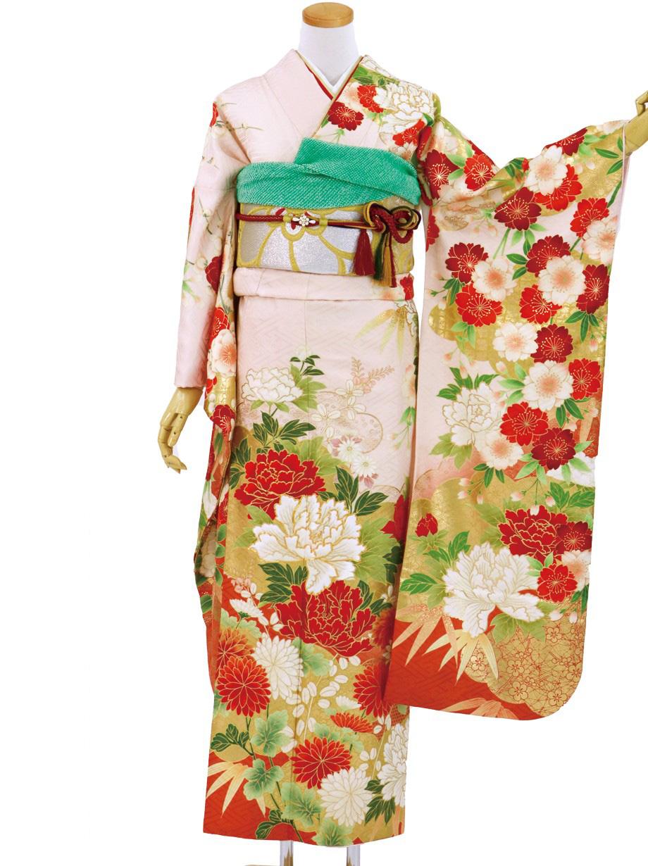 ピンク地に牡丹・笹・椿と枝垂桜/標準サイズ