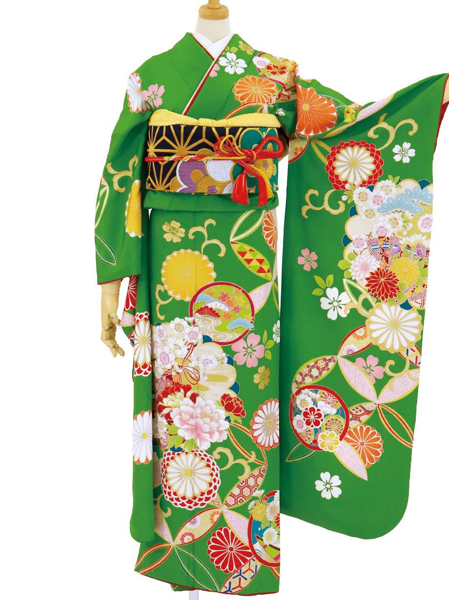抹茶地に七宝と花紋の振袖/トールサイズ