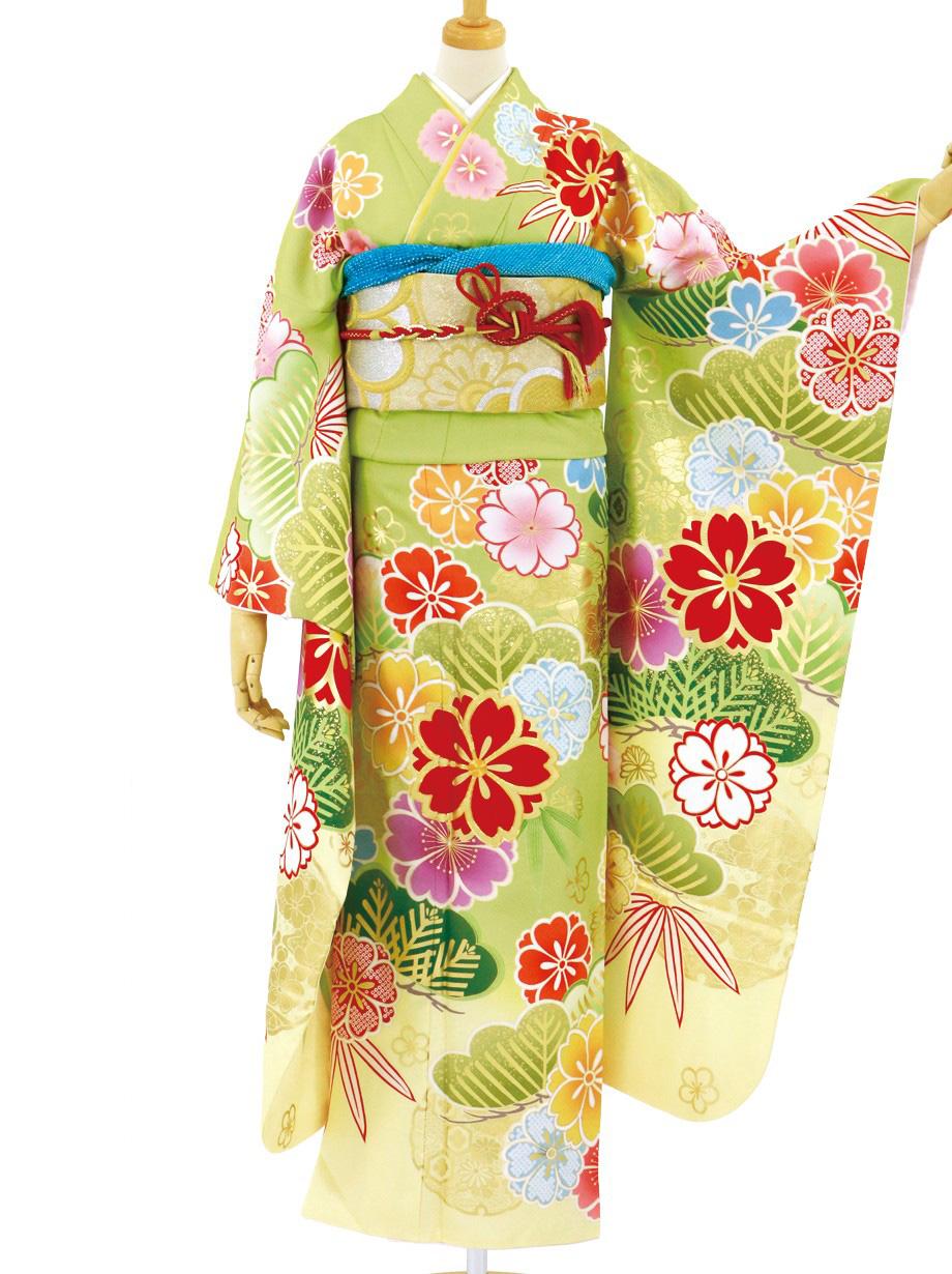 若苗色に桜と松文様の振袖/トールサイズ