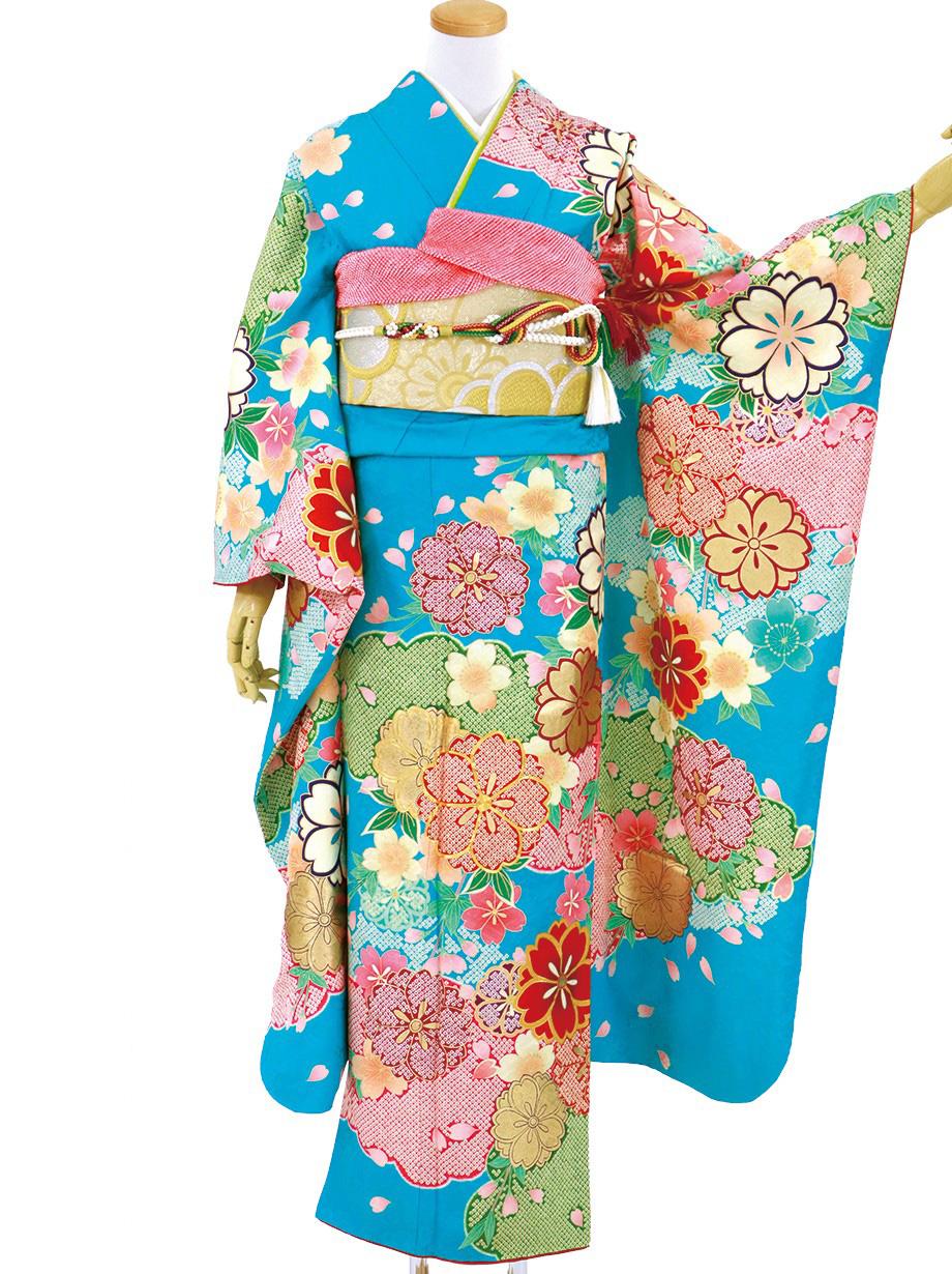 青地に疋田の桜と雲取りの振袖/トールサイズ