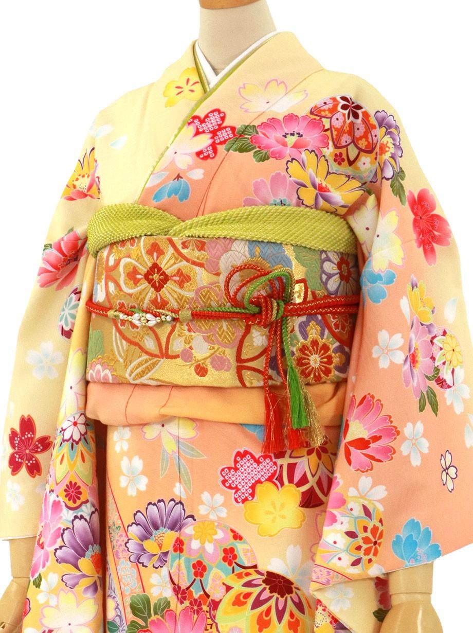 クリームイエローと鶸色地に鞠と菊の振袖/標準サイズ