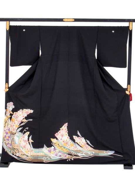 扇文と波の黒留袖/ワイドサイズ