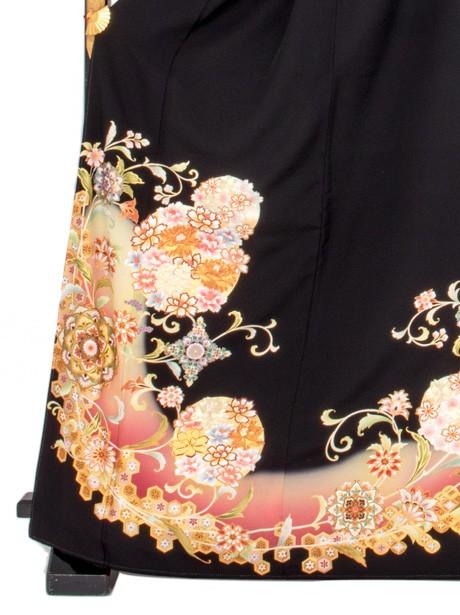 花丸と正倉院文様の黒留袖/ワイドサイズ