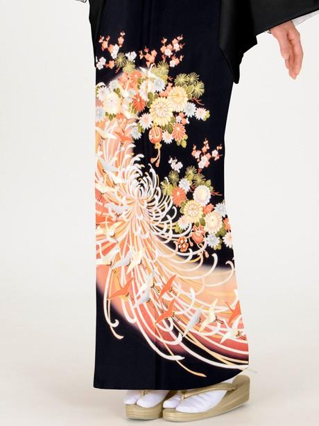 糸菊に鶴の黒留袖