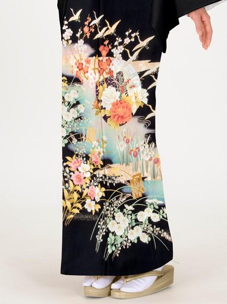 波に鶴と源氏香の黒留袖