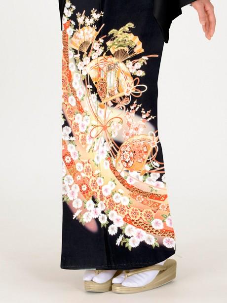 檜扇と熨斗の黒留袖