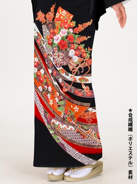 花車に熨斗目と花丸文の黒留袖