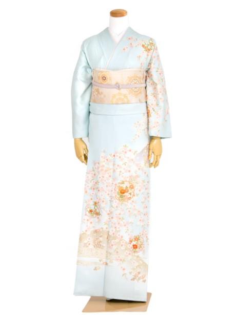 藍白色に枝垂れ桜と雪輪の訪問着(袷)