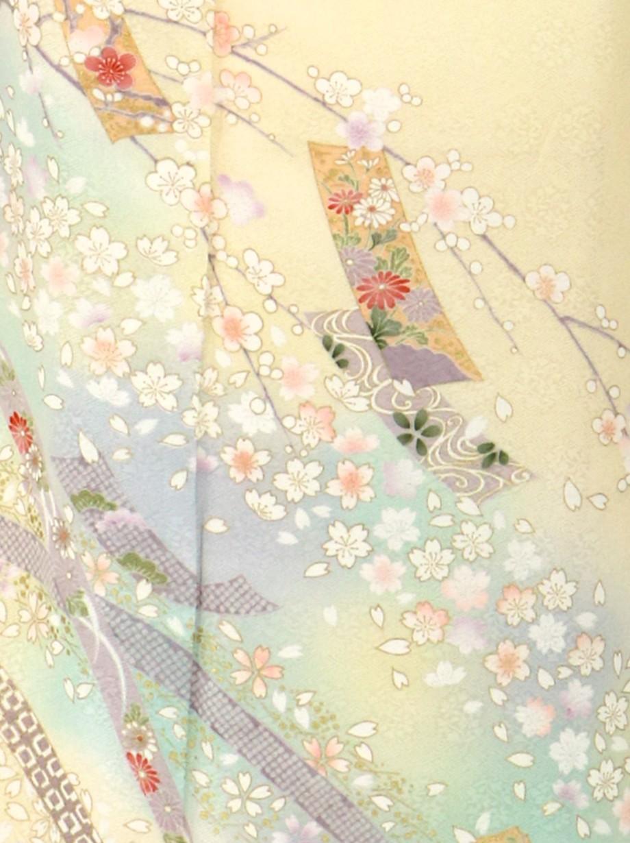 鳥の子色にしだれ桜と短冊の訪問着(袷)
