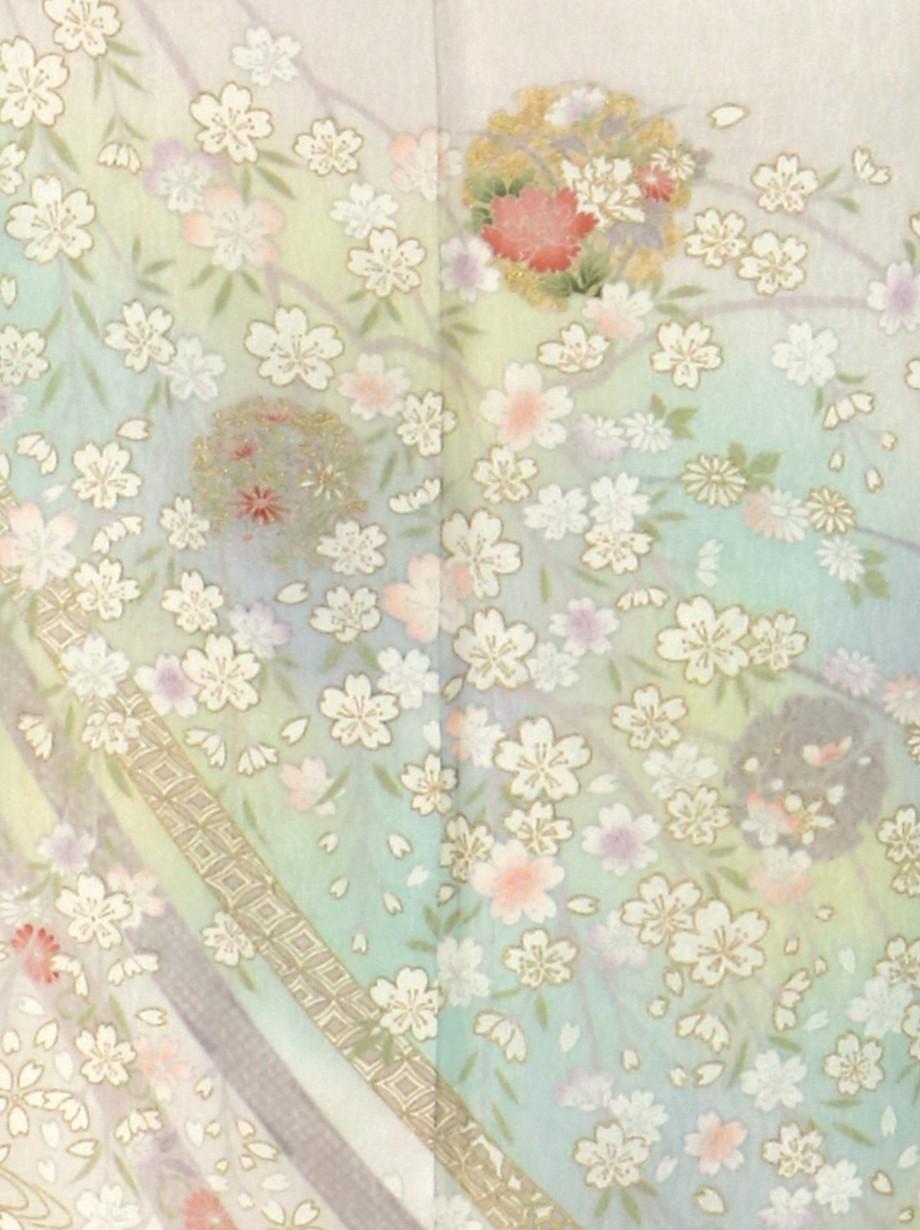 薄グレー地にしだれ桜と雪輪の訪問着(袷)