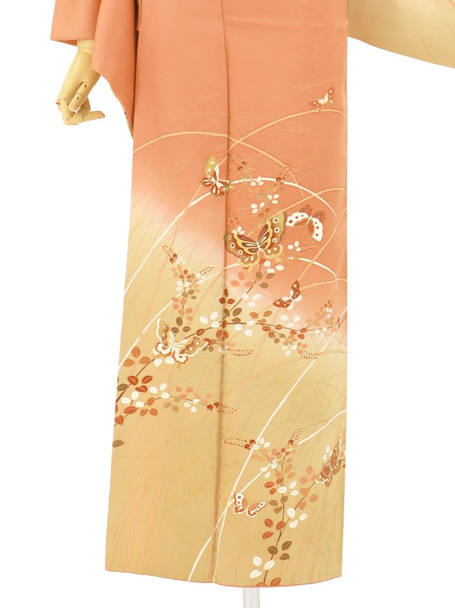 杏色に蝶と萩文の訪問着(袷)