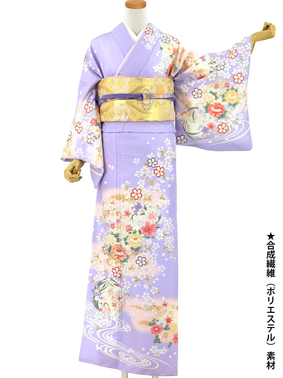 藤紫色地に花丸紋と桜川の訪問着(袷)(ポリエステル)