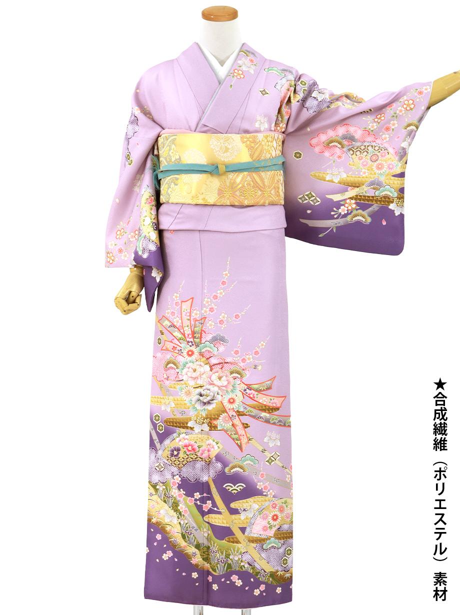 紫地に束ね熨斗と地紙の訪問着(袷)(ポリエステル)