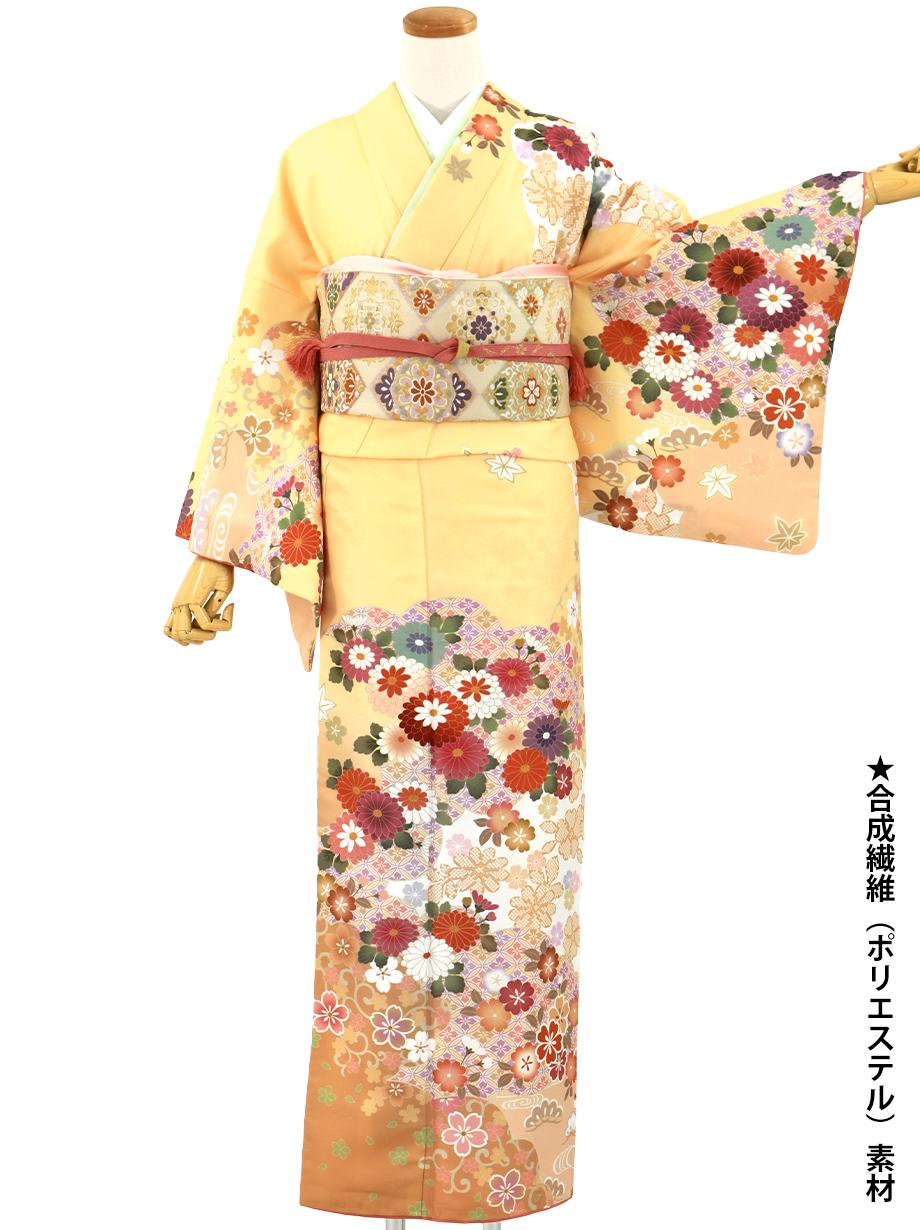 クリーム色地に菊と桜の訪問着(袷)(ポリエステル)