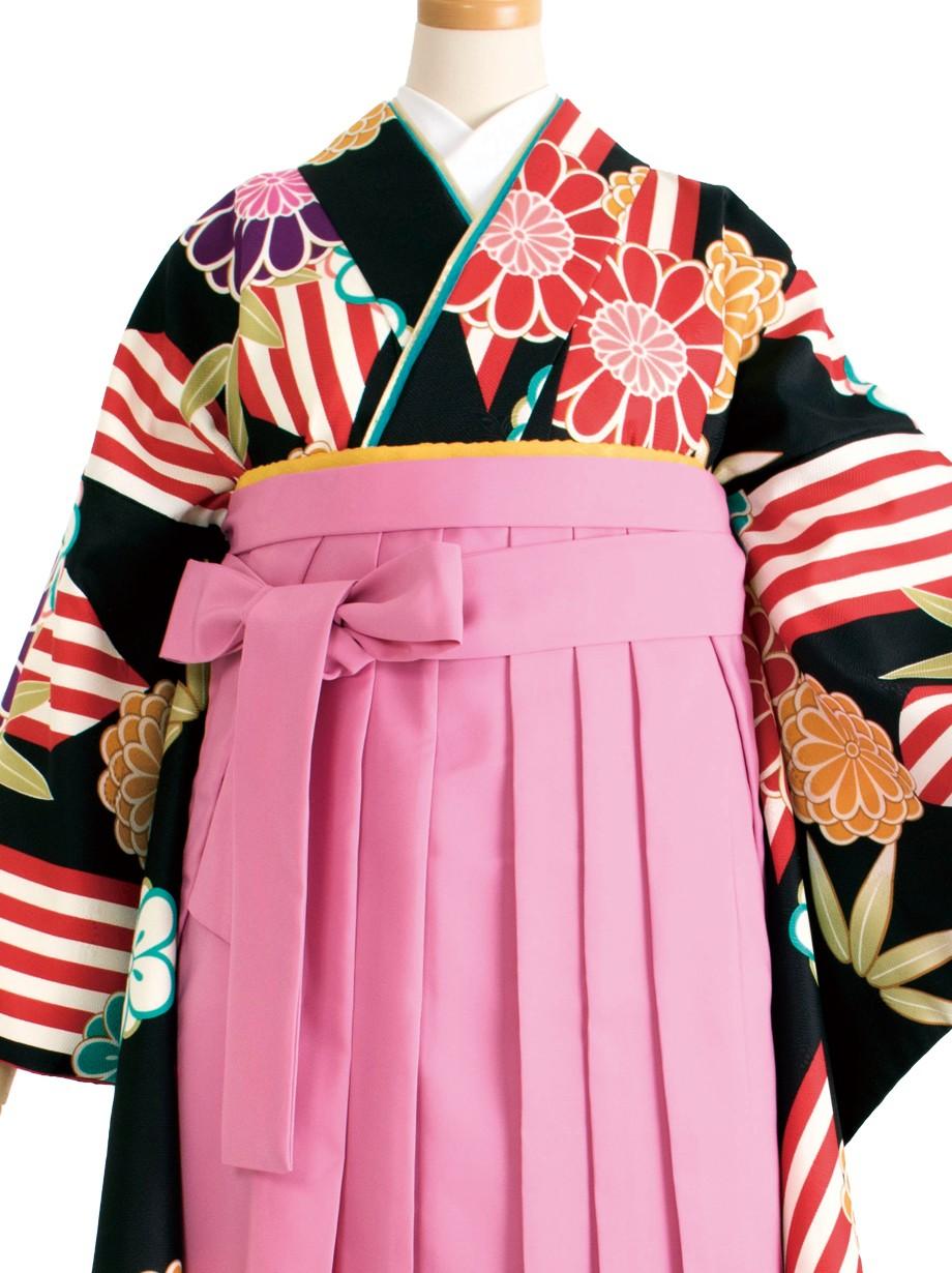 黒地に紅白の矢絣と梅・ピンク袴(二尺袖)/卒業式