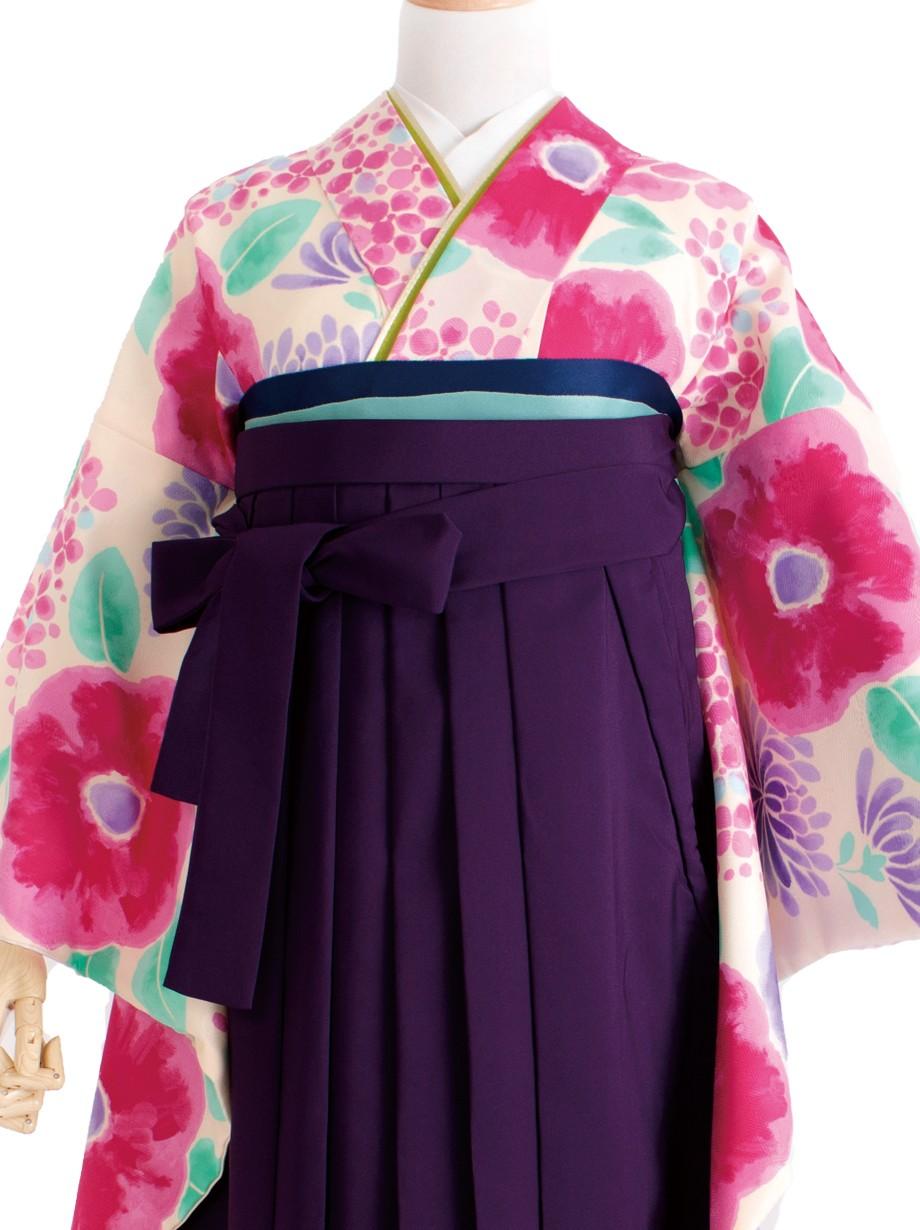 クリーム地に紫陽花と洋花・紫袴(二尺袖)/卒業式