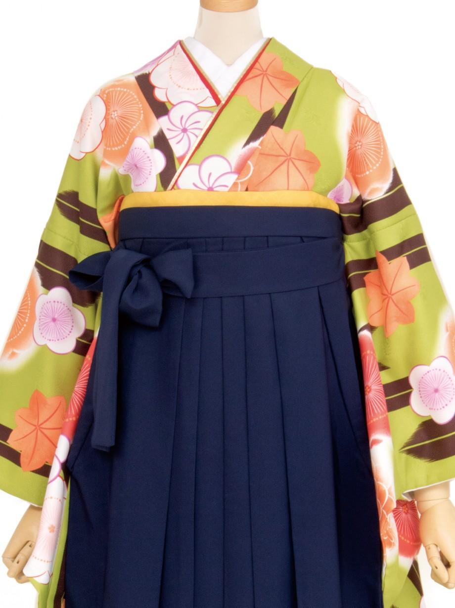 黄緑地に茶色の矢絣と梅・紺袴(二尺袖)/卒業式