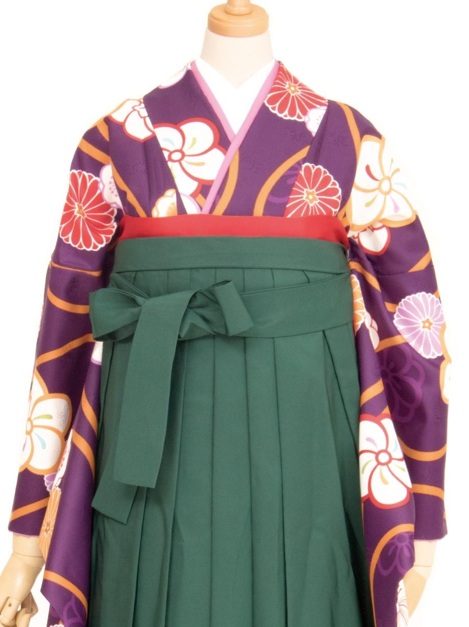 紫地に黄色い立涌とねじり梅・緑袴(二尺袖)/卒業式