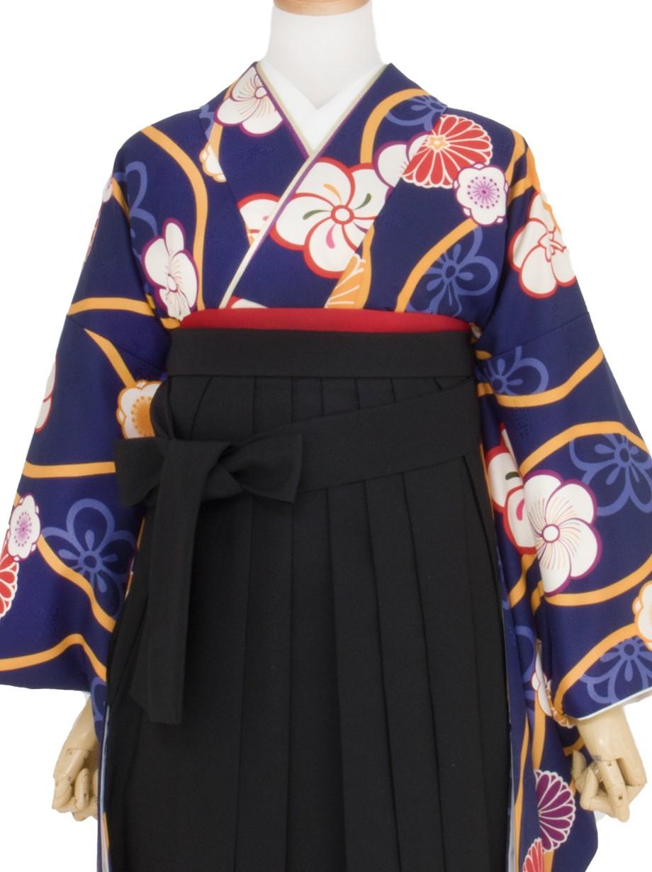 紺地に黄色い立湧とねじり梅・黒袴(二尺袖)/卒業式