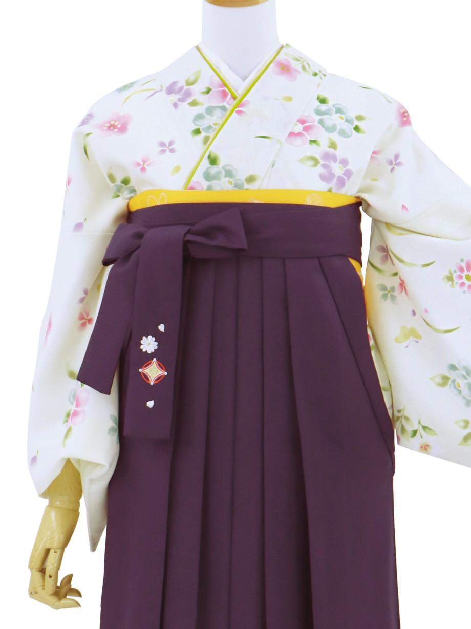 クリーム地に小花の小紋・紫袴/卒業式