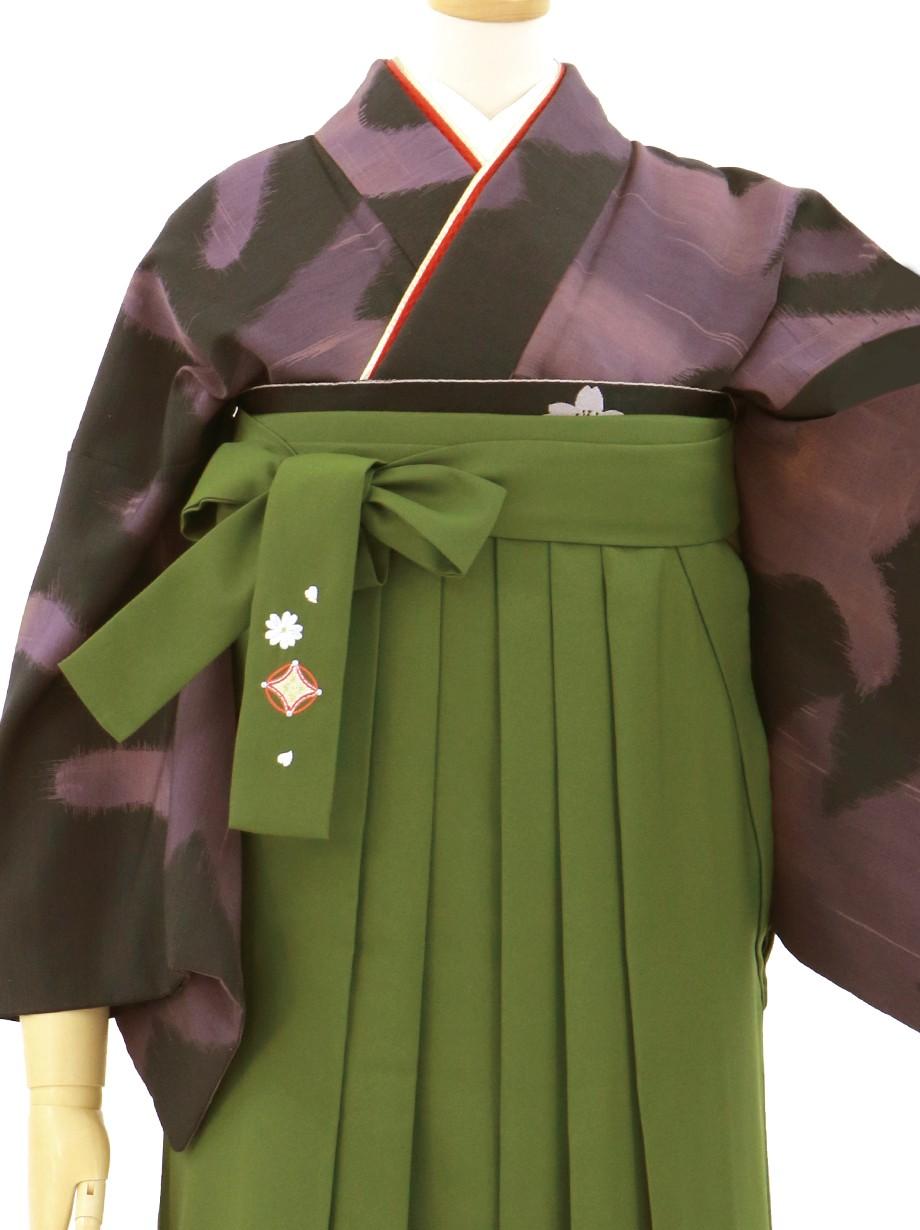 黒地に紫の猫模様の小紋・抹茶袴/卒業式