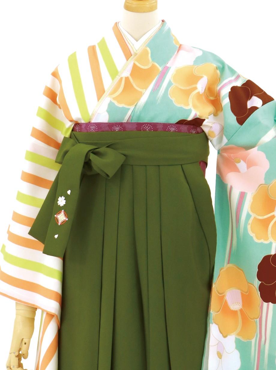 ストライプと椿の片身替わり・抹茶袴(二尺袖)/卒業式