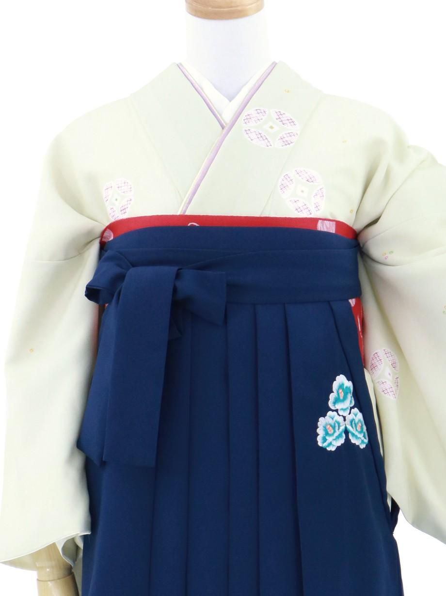 若芽色に七宝の小紋・紺袴/卒業式