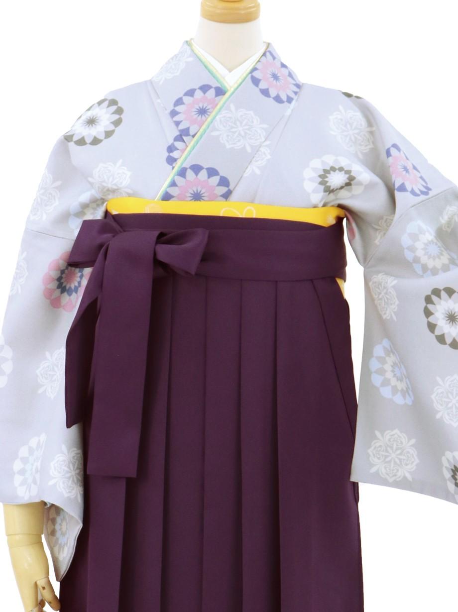 白鼠にレース模様の小紋・紫袴(無地)/卒業式