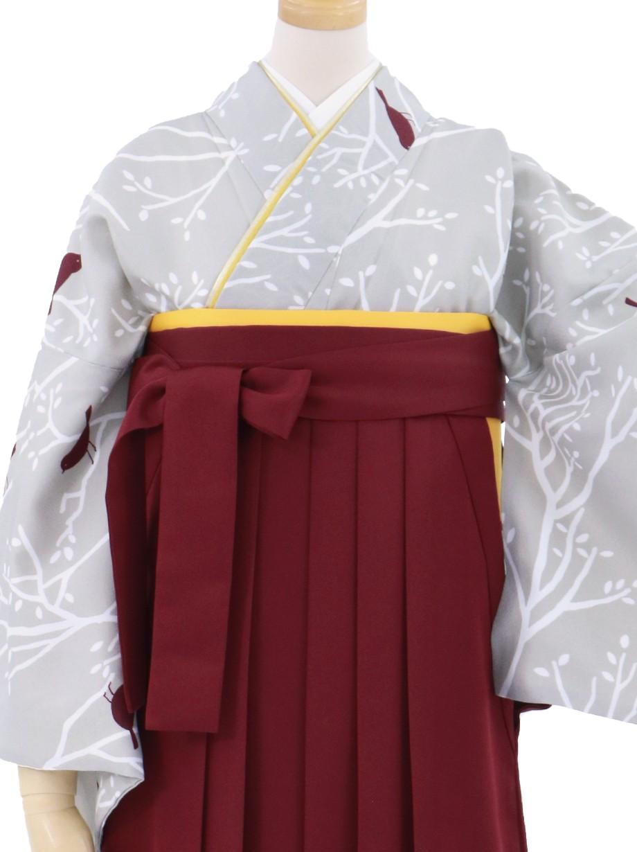 グレー地に小鳥と枝模様の小紋・臙脂袴(無地)/卒業式