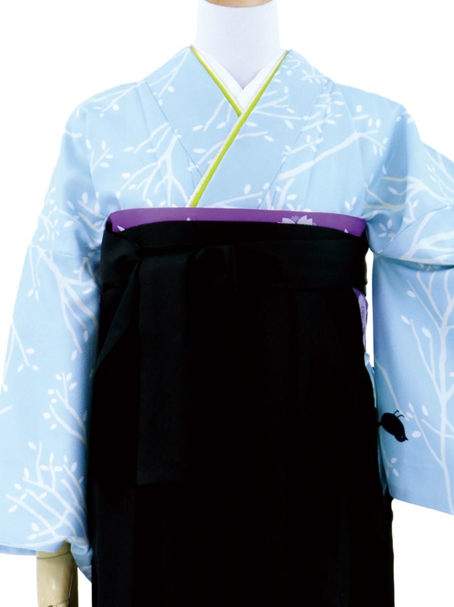 水色地に小鳥と枝模様の小紋・黒袴(無地)/卒業式