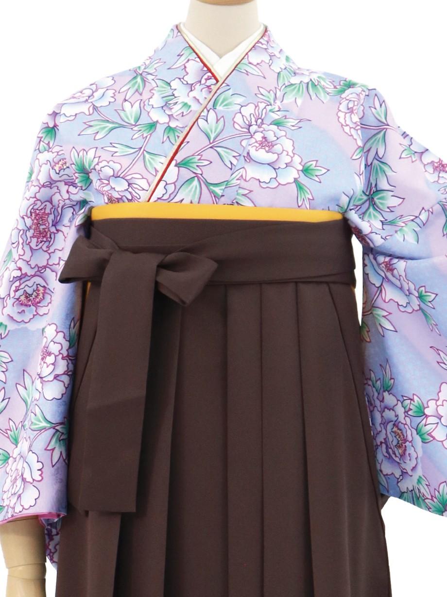 ラベンダー色に牡丹の小紋・茶色袴(無地)/卒業式
