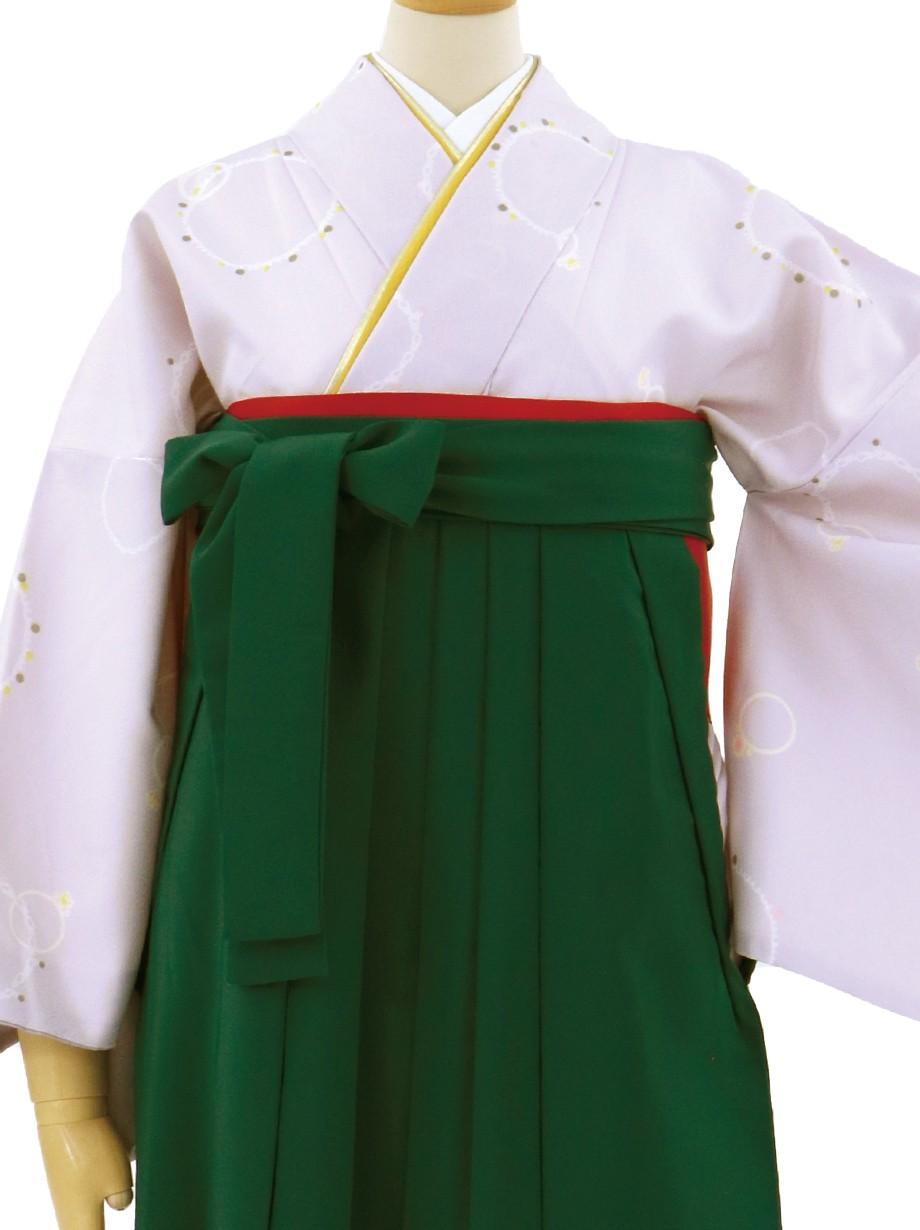 薄紫にジュエリーの小紋・緑袴(無地)/卒業式