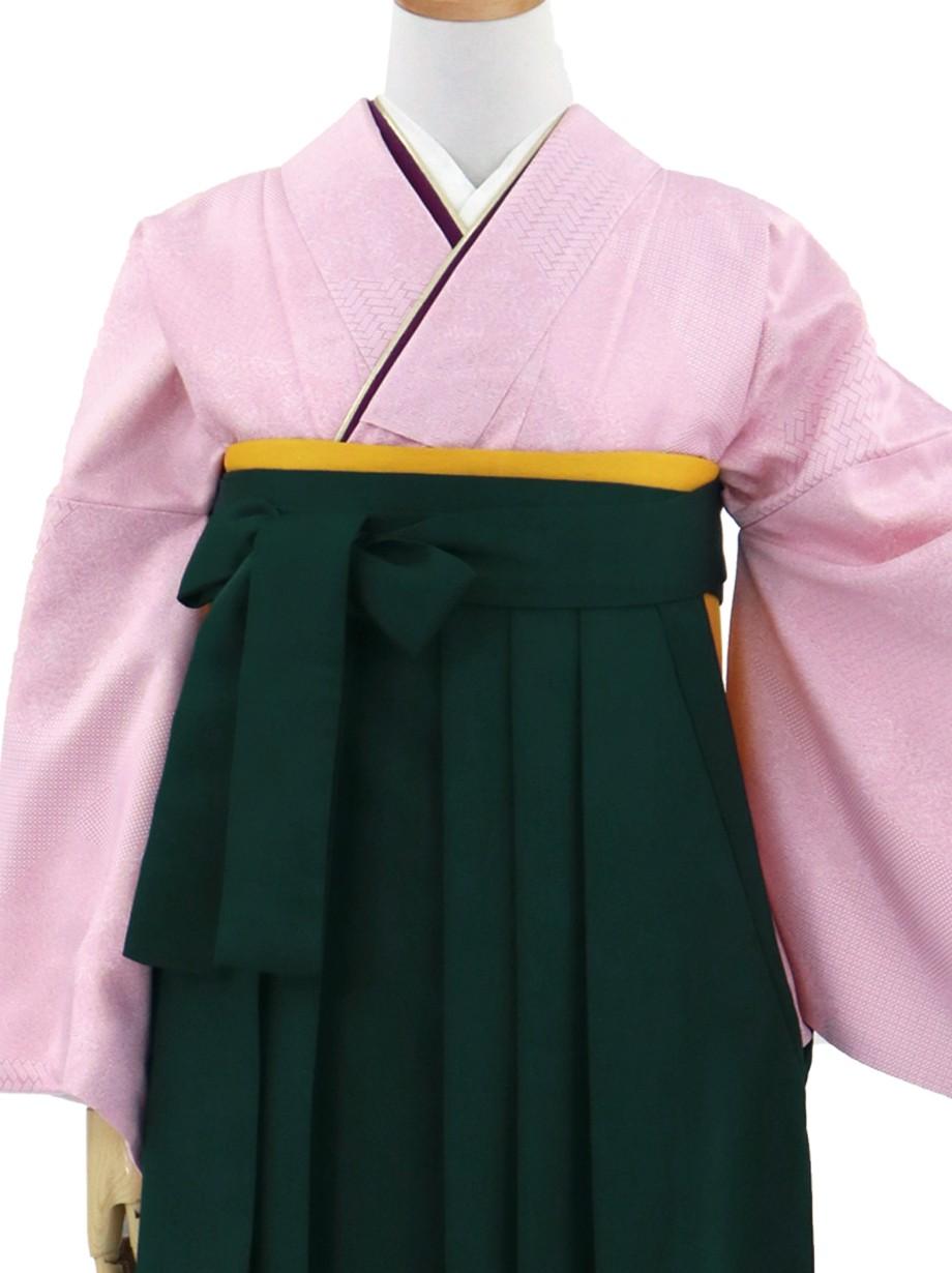 ピンクの江戸小紋・深緑袴(無地)/卒業式