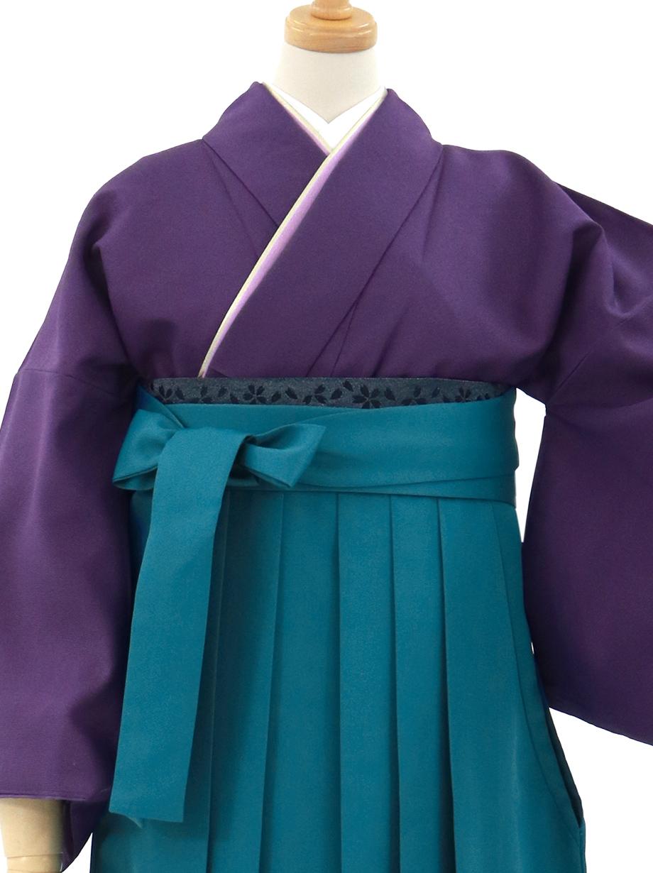 深紫色の色無地・青袴(無地)/卒業式