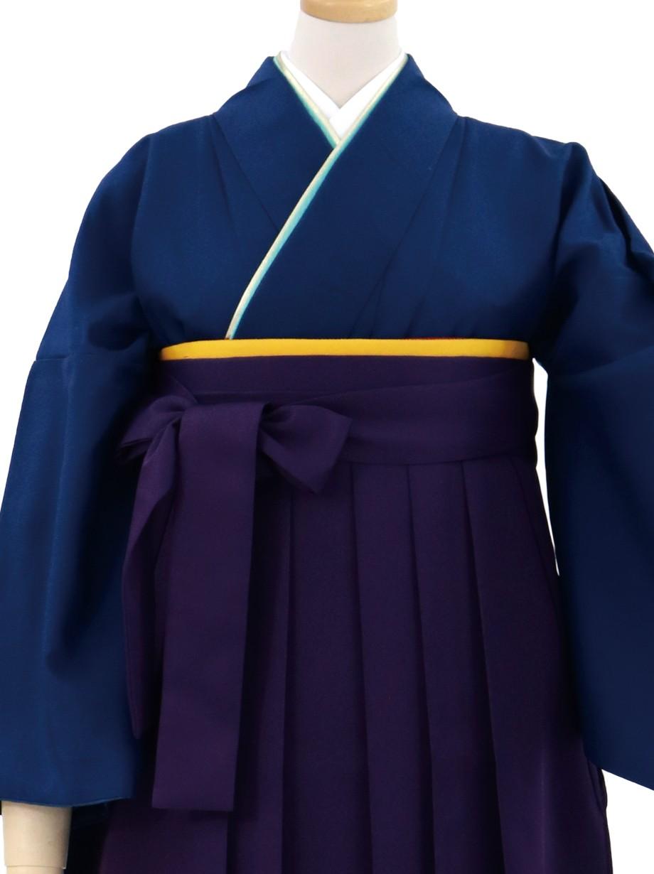 紺瑠璃(こんるり)色の色無地・紫袴(無地)/卒業式紺瑠璃(こんるり)色の色無地・紫袴(無地)/卒業式